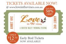 'Love in the Vines' - A Hunter Valley Wedding Festival 2016 / 'Hunter Valley Wedding Planner' Magazine is proud to announce the next 'Love in the Vines - Hunter Valley Wedding Festival' on Sun 17th April 2016 at Lindeman's Pokolbin, at 10.30am. See 'Hunter Valley Wedding Planner' Magazine come to life before your very eyes in a carnival style atmosphere at Lindeman's Estate in the heart of Hunter Valley Wine Country. Prepare to be entertained and inspired by an amazing array of talented wedding suppliers and professionals who service the Hunter Region.