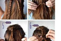 Braids Hairstyles / Hairstyles and Tutorials for moms, little girls, and women. Braids, Braided updo, messy updo, boho styles.