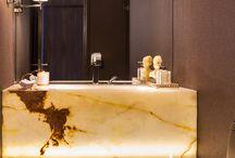Backlit onyx in a washroom or bathroom - magical