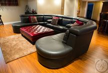 Parsons Interiors Basement Man Cave Oakville / Parsons Interiors designed and decorated this basement renovations. Furniture,drapery,area rugs and accessories all from Parsons Interiors.