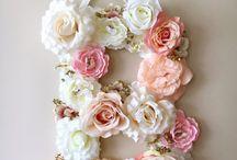 Letras flores/pérolas