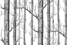 Tree silhouette wall