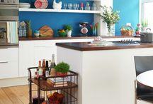 White kitchen, bright accents
