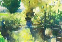 Gouache Paintings of Sicily / Gouache Paintings of the area around Siracusa (Syracuse) Sicily including the Ciane River and Pantalica