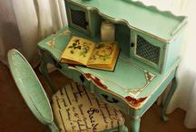 Painted Green Furniture / painted green shabby chic and upcycled furniture