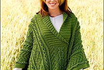 Green knitted Poncho