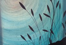 Small canvas reeds and blue moon / Blue moon with beach reeds