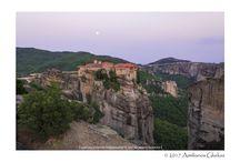 Meteora monasteries at sunset