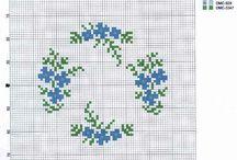вышивка цветы синие