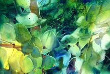 forests and leaves in watercolour