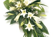 White and green funeral arrangements
