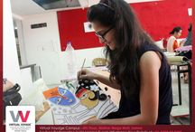 """Mural Tribal Art for interior designing / """"Doing things differently being yourself is what makes art & creativity interesting"""" Workshop on Mural Tribal Art for interior designing students of Virtual Voyage College was organised by Pidilite in the college campus."""