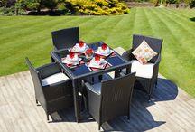 Modern Black Patio Set Garden Beautiful Outdoor 4 Seater Rattan Chairs Table