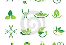 Ecology, wellness, health, green. leaves. nature icons, logotypes