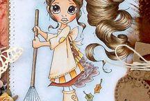 haren kleuren met distress ink