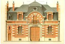 Arq. Dibujos fachadas de casas antiguas