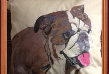 Personalised pet cushion / Dog I hand painted on a cushion with fabric paint