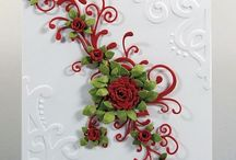 Rose scroll in red