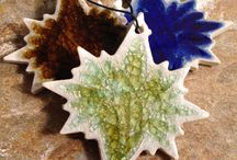 Holiday Ornaments / Recycled glass infused pottery ornaments handmade using crushed glass bottles. #holidayornaments #uniqueornaments #ornaments