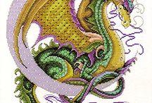 výšivka - draci