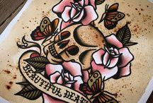 Tattoo flash n' stuff / Mostly tattoo flash. Ink on paper.