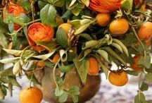 { peach, yellows and orange}