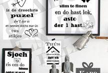 Handwrithing Fryske teksten / Kado en Zo Balk heeft ook enkele handwrithing poster op A4 met Fryske teksten in de collectie.
