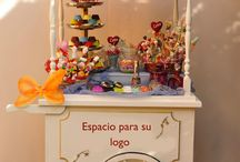 Candy bar, cart, tables and more