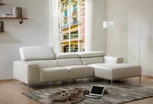 Modern Genuine-Leather Light Grey Sectional
