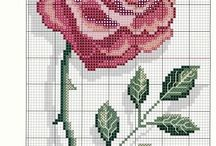 punto cruz flores