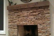 fireplace stone/oak mantle