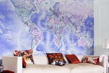 World Maps / Using world maps in the home as decoration.