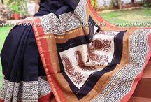 indigo silk khaadi daabu print