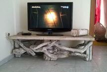 rustic log tables