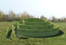 The Spiral of Meditation / The installation consists of a planting of boxwood (Buxus microphylla) at regular distances arranged in a spiral design with increasing height.  It is a guided path towards the center in a sort of labyrinth. (Claudio Gasparini Fecit)
