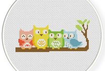 Cross stitch owls