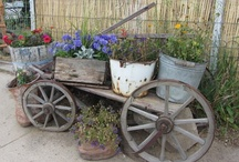 Wheels  wagons  carts flowers