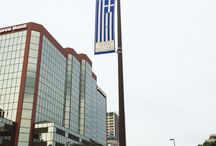 Opa! @fwgreekfestival banners are up downtown. Plan to attend June 26-29 at Headwaters Park. / 2014 Greek Festival Banners Up At Downtown Headwaters Park