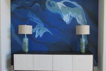 Blue Abstract Art Wall / Focal wall in blue abstract expressionism #abstractexpressionism #abstractart #blueabstractart