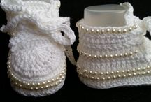 scarpine uncinetto neonato battesimo