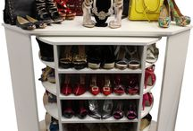 """Shoe and Jewelry Organizer - """"Head Over Heels"""" / This unit comes DIY and can be assembled in minutes. Specs: 40""""W x 40""""L x 14""""D - 42"""" High  It's like a Shoe Rack / Lazy Susan but much more advanced.   Tags: Lazy Susan, Shoe Rack, closet, Woman's Dream, Dream Closet, spinning closet, revolving shelves, walk in closet, book shelf, 360 closet organizer"""
