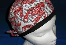 Unisex  Scrub Caps /  ONE SIZE FITS MOST The band is lined with a solid fabric , to compliment the print. The band is 4 1/2 inches wide. It can be worn down or turned up to fit the wearer. The cap has narrow elastic and ties in the back. This cap is usually worn by men, but could work for ladies with short hair.