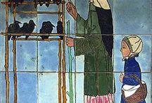 Raven and Godelieve / Als verstotene van het kasteel moest Godelieve werken op het land. Ze moest de Raven van het net gezaaide korenveld weghouden. Toen de klok van de Kerk luidde en Godelieve als zeer devote vrouw absoluut naar de kerk wilde, gebood ze de Raven te verzamelen in de schuur tot ze terugkwam. https://nl.wikipedia.org/wiki/Godelieve_(heilige)