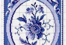 Cross stitch-blue and white