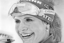 Pencil drawing Gabriela Soukalova / - is a Czech biathlete. She won two Olympic silver medals at the 2014 Sochi Games.