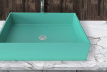 Contemporary Stone Composite Sinks in Bright Colors / Whyte & Company shows you how to make a bold statement in the bathroom with a sink in one of our 30 standard colors.