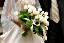brudebukett blomster