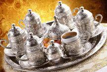 Osmanlı Motifli MIRRA 6 Kişilik Kahve Seti - (8 Parça) - Gümüş