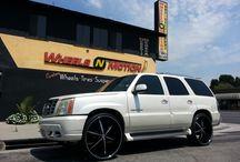 """Cadillac / Cadillac Escalade on 28"""" U2 55 wheels black with machine line"""
