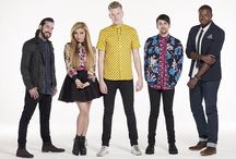 Pentatonix / This is a Pentatonix or PTX board. This a Capella group is amazing because they manage to creat amazing club and techno songs with only 5 members. Scott, Mitch and Kirstie are the trio along with Avi the bassist and Kevin the beat boxer. I love these guys!